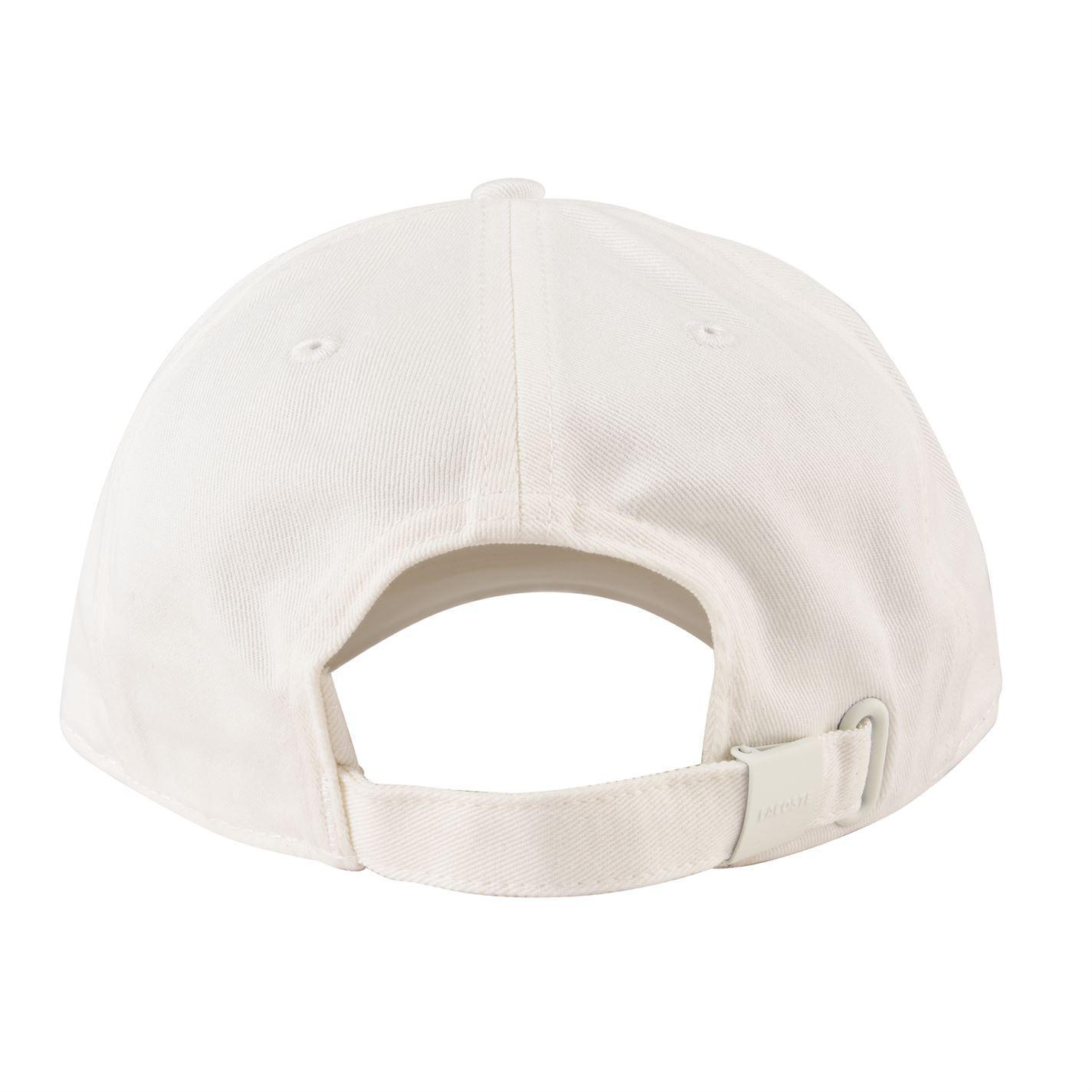 7e94bfc898909 Lacoste Badge Cotton Gabardine Cap in White for Men - Lyst