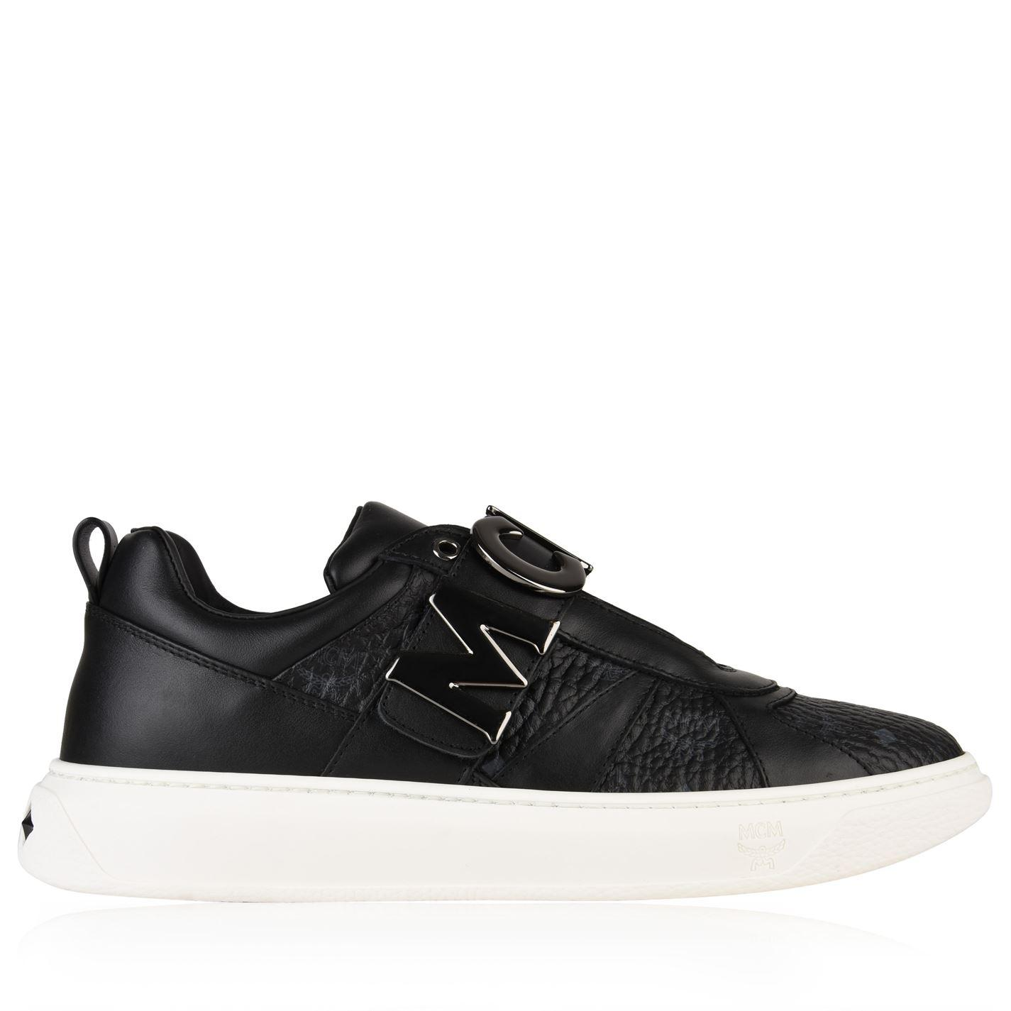 MCM Leather Logo Strap Trainers in