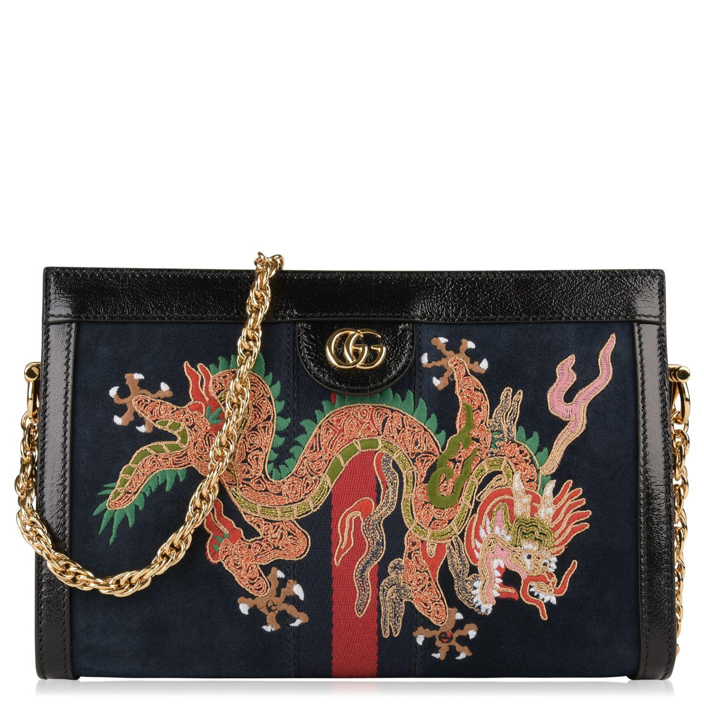 b6e3299b412 Gucci Ophidia Dragon Embroidered Suede Shoulder Bag in Blue - Lyst