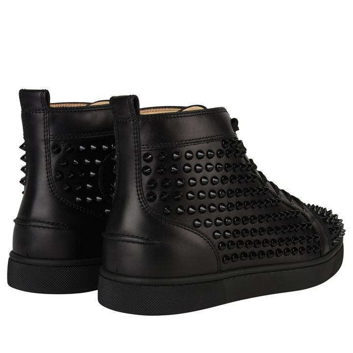Christian Louboutin Leather Louis Calf Spike High Top Trainers in Black for Men