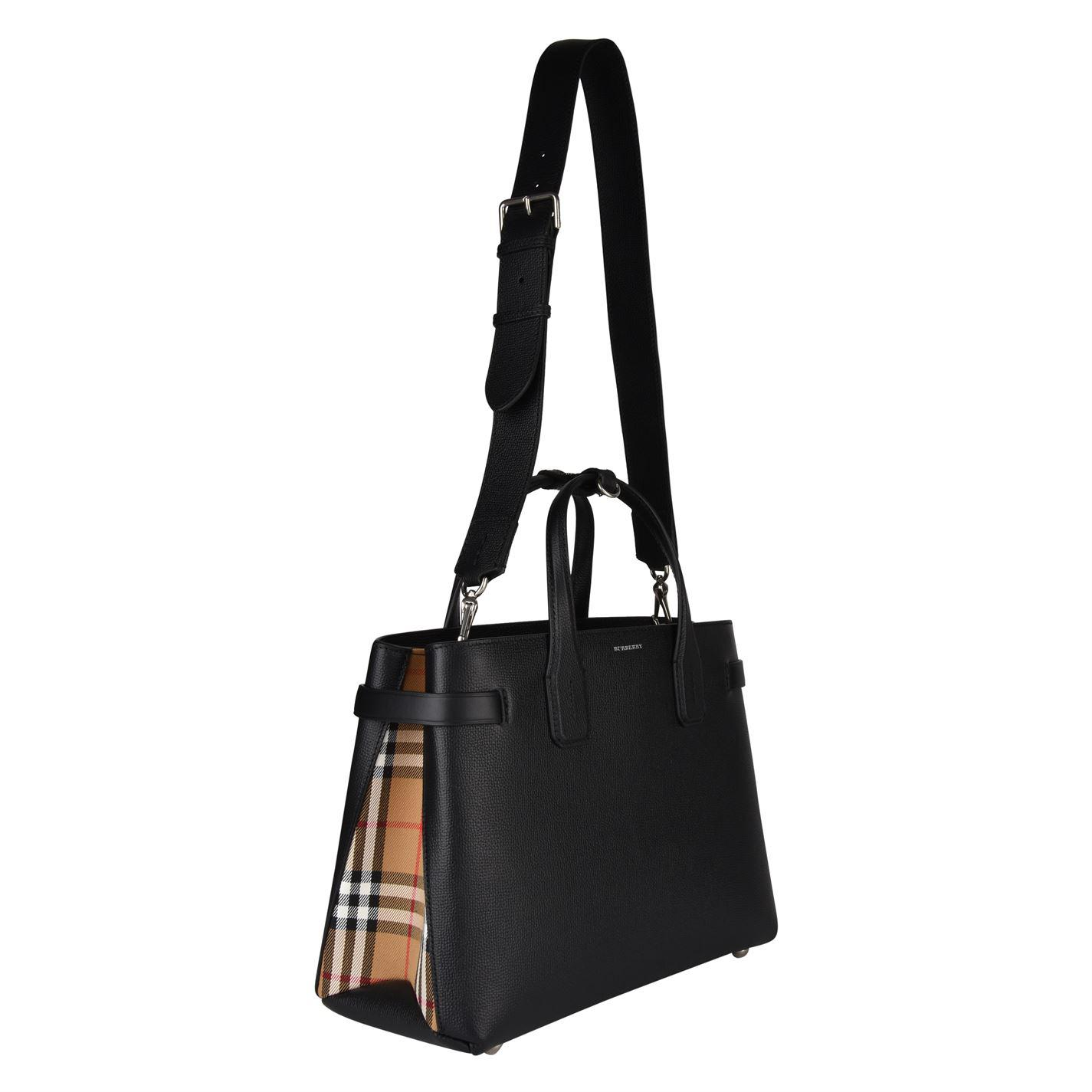 Burberry - Black Medium Banner Leather And Vintage Check Bag - Lyst. View  fullscreen 416255784c