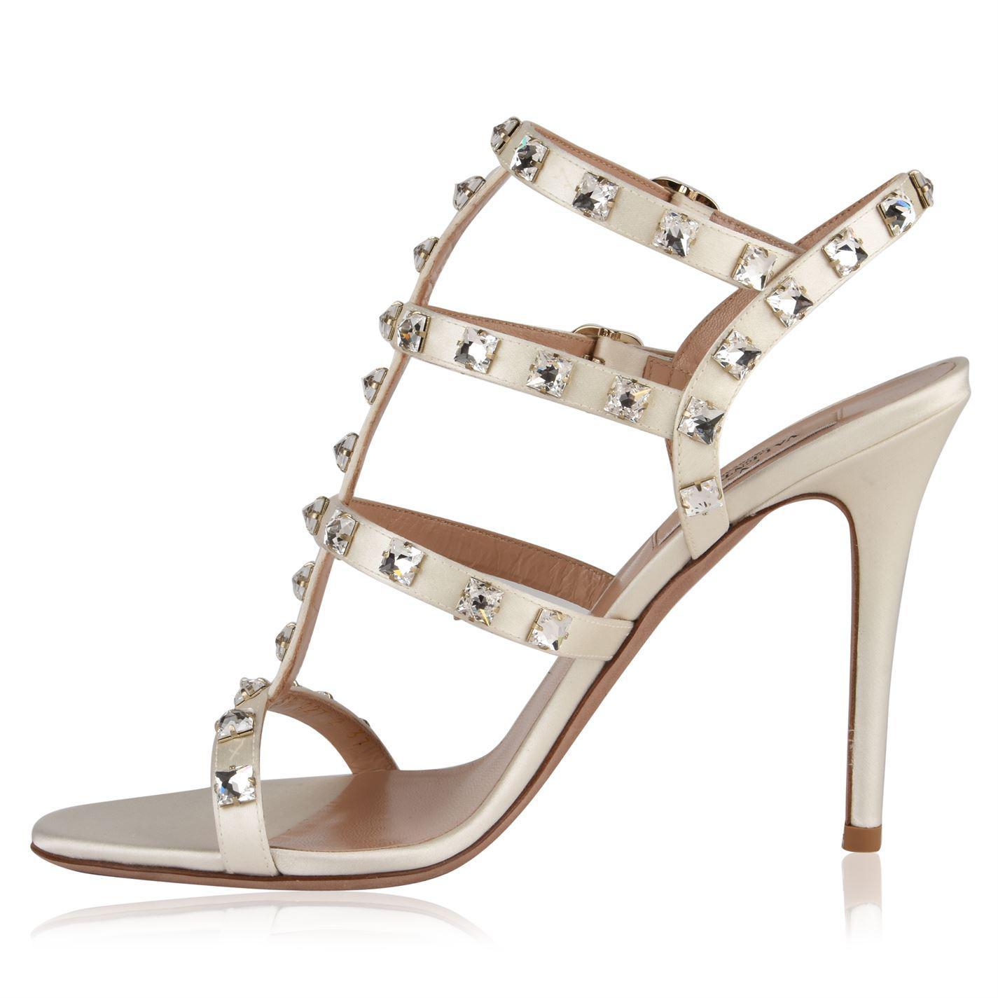 05b454f29ae ... Rockstud Crystal Heeled Sandals - Lyst. View fullscreen