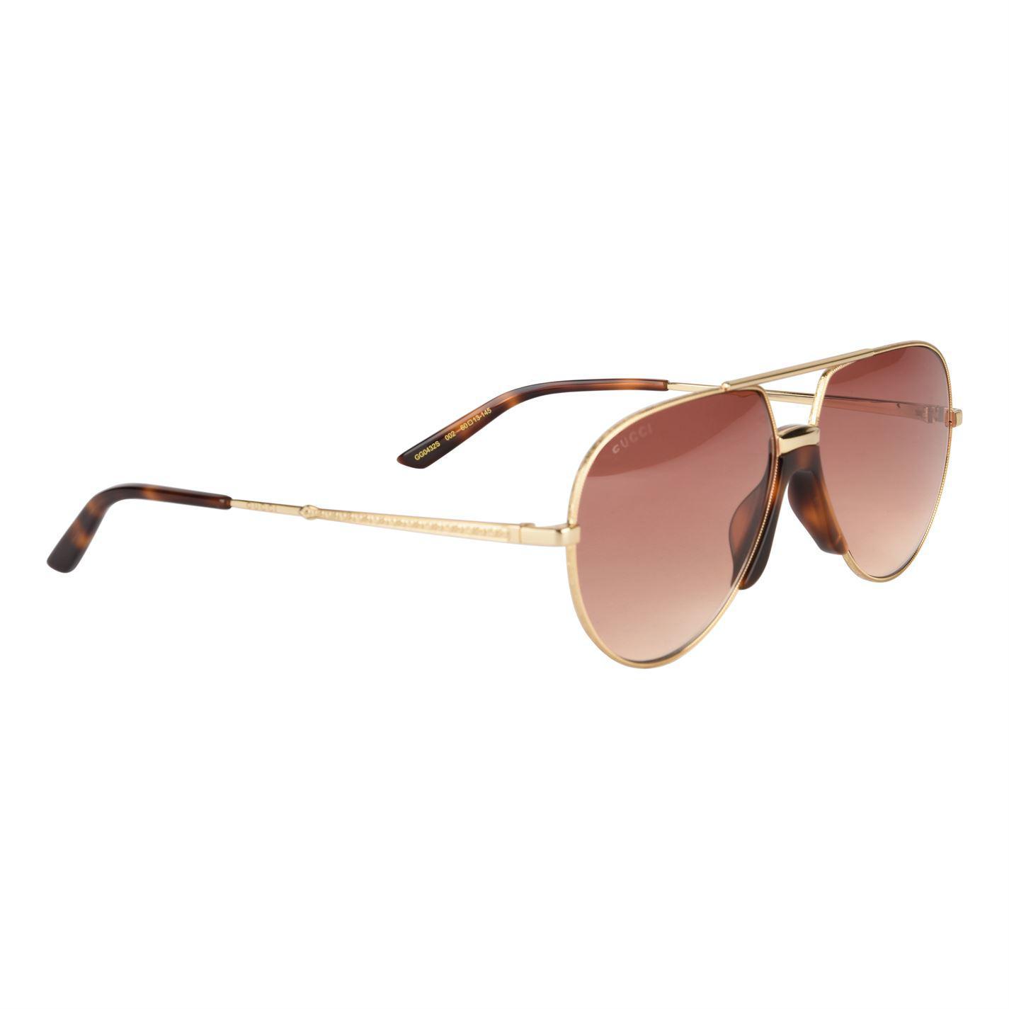 88877f03ba5 Lyst - Gucci Gg0432s Aviator Sunglasses in Brown
