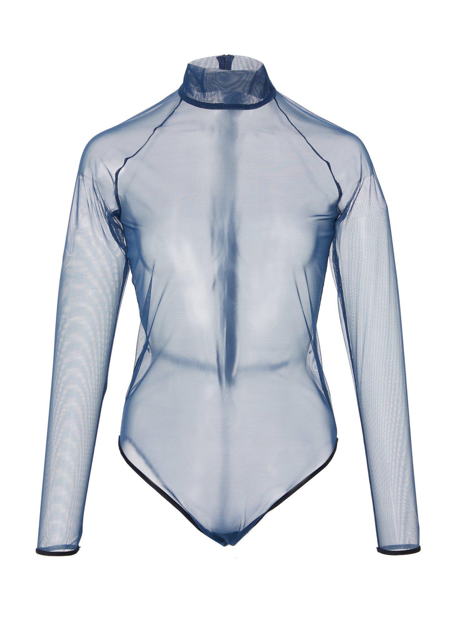 03715f09927a Fleur du Mal Sheer Tulle Turtleneck Bodysuit With Velvet Trim in ...
