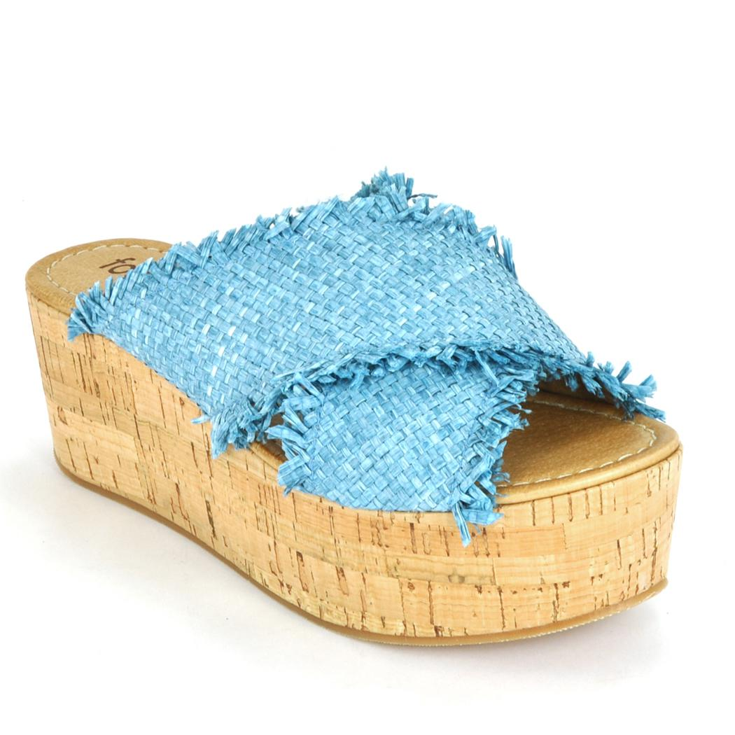 9894d0454 Lyst - Footnotes Straw Cork Wedge in Blue