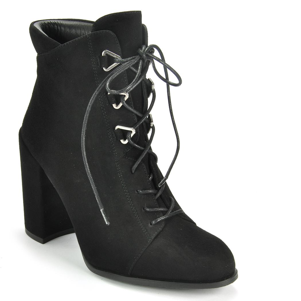 Black Lace Up Shoes Suede Womens