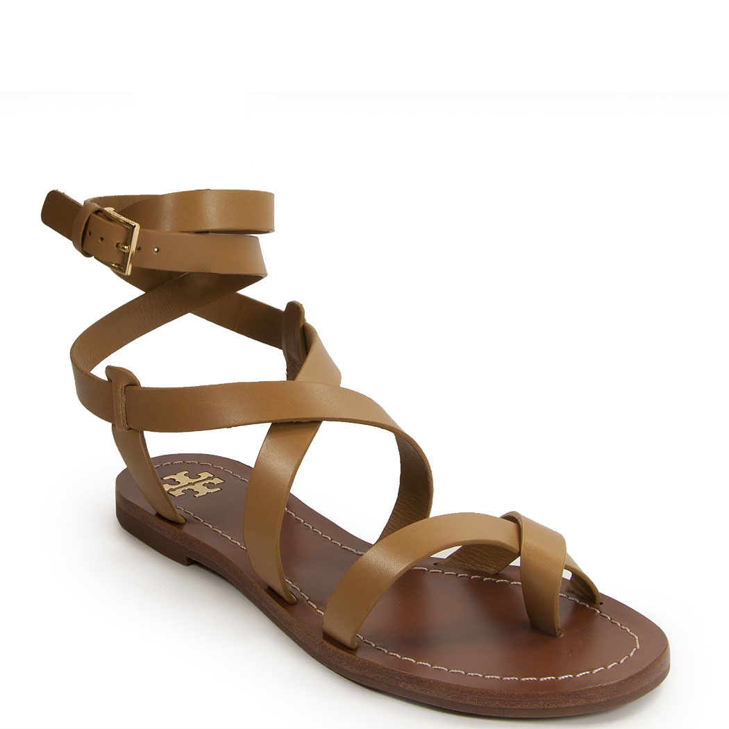 tory burch strappy leather sandals in brown lyst. Black Bedroom Furniture Sets. Home Design Ideas