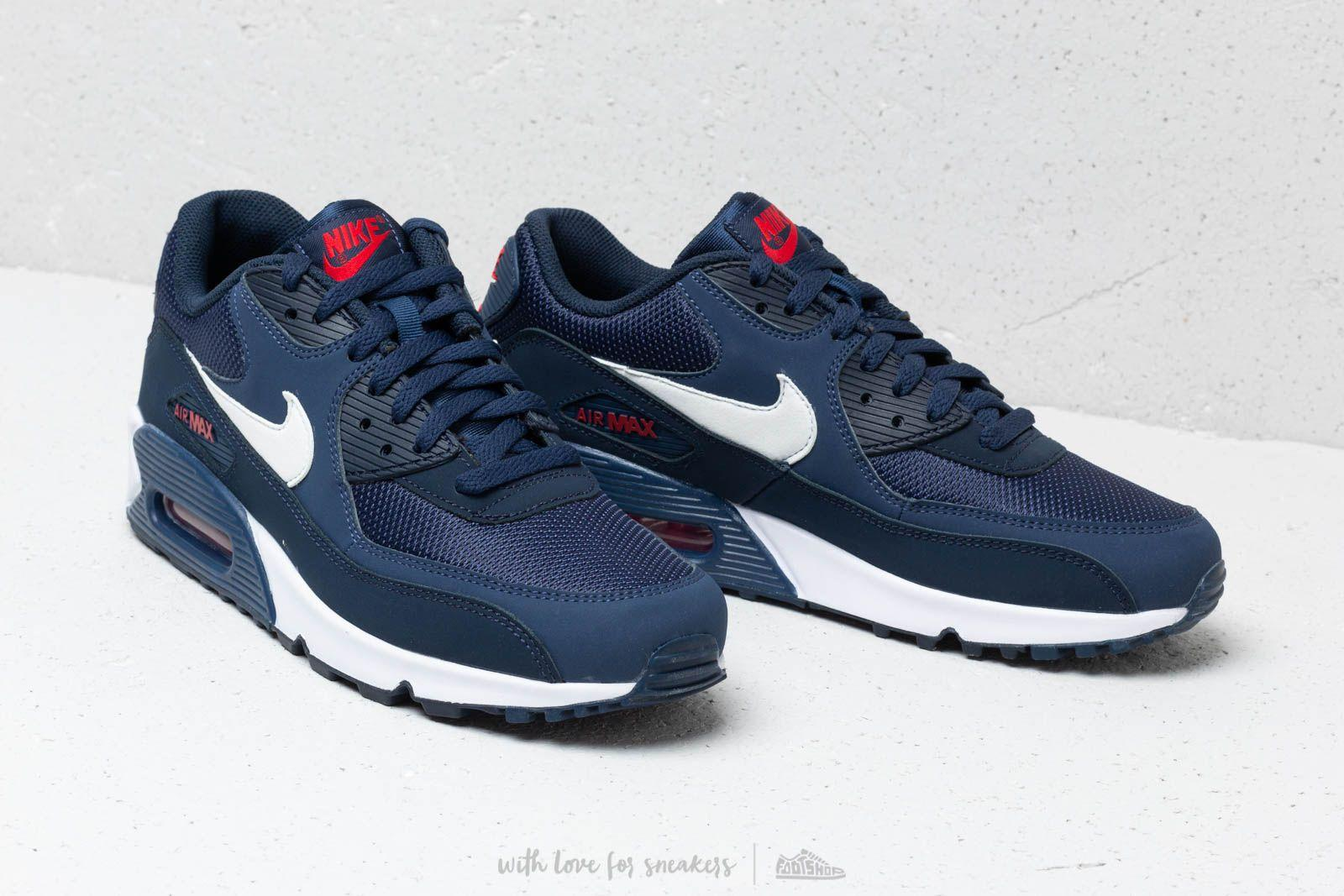 check out 9a645 449c0 Nike Air Max 90 Essential Midnight Navy  White-university Red in ...