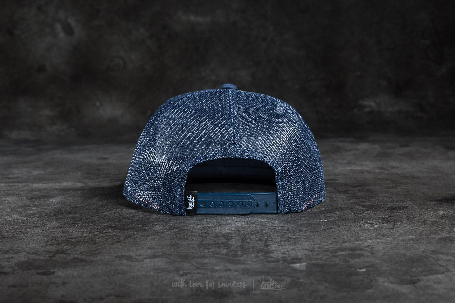 d5d5d9eb652 Lyst - Stussy Puff Print Stock Trucker Cap Navy in Blue for Men