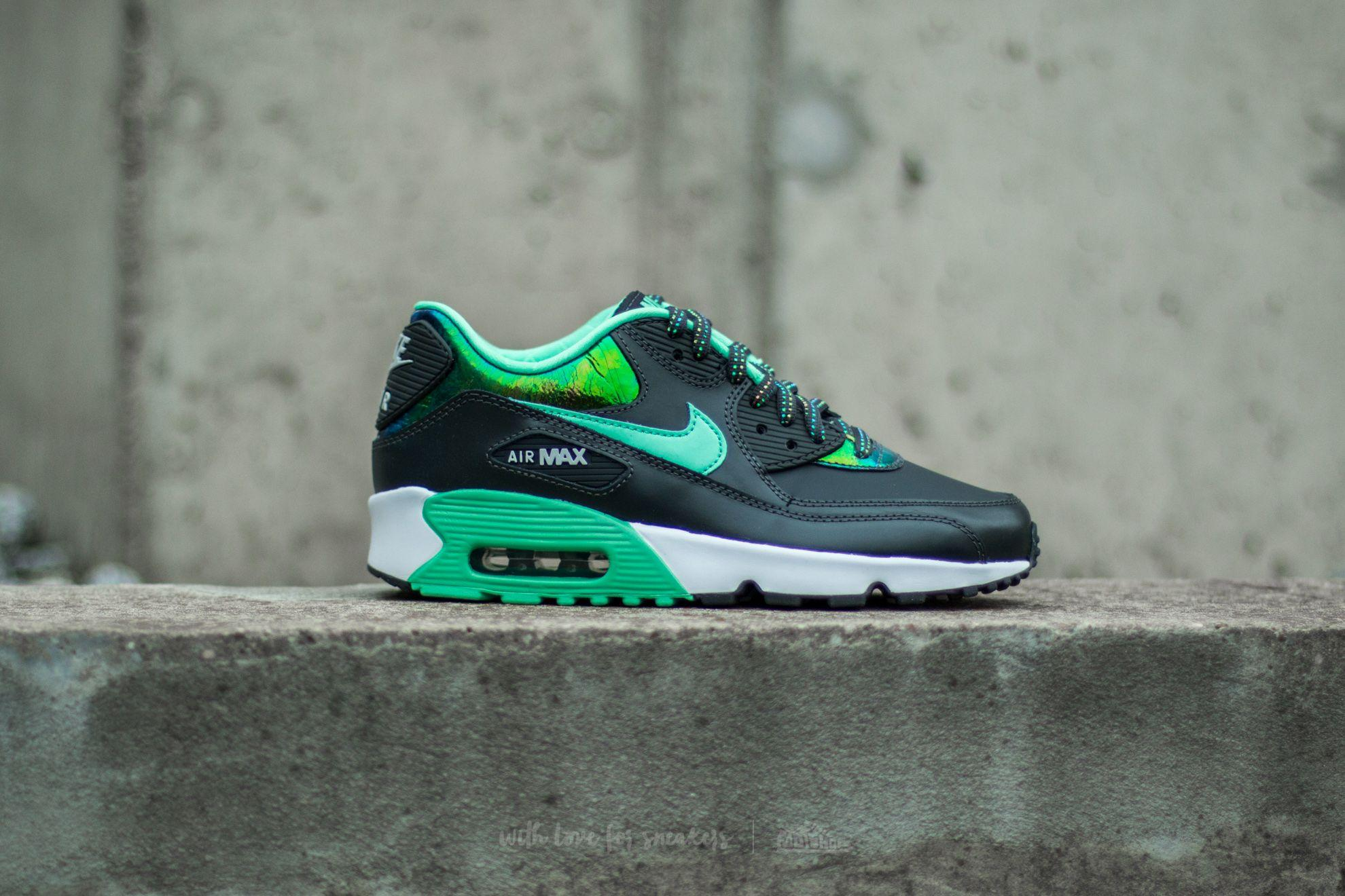 new styles 6bb91 5338e Men's Air Max 90 Se Leather (gs) Anthracite/green Glow-pure Platinum-white