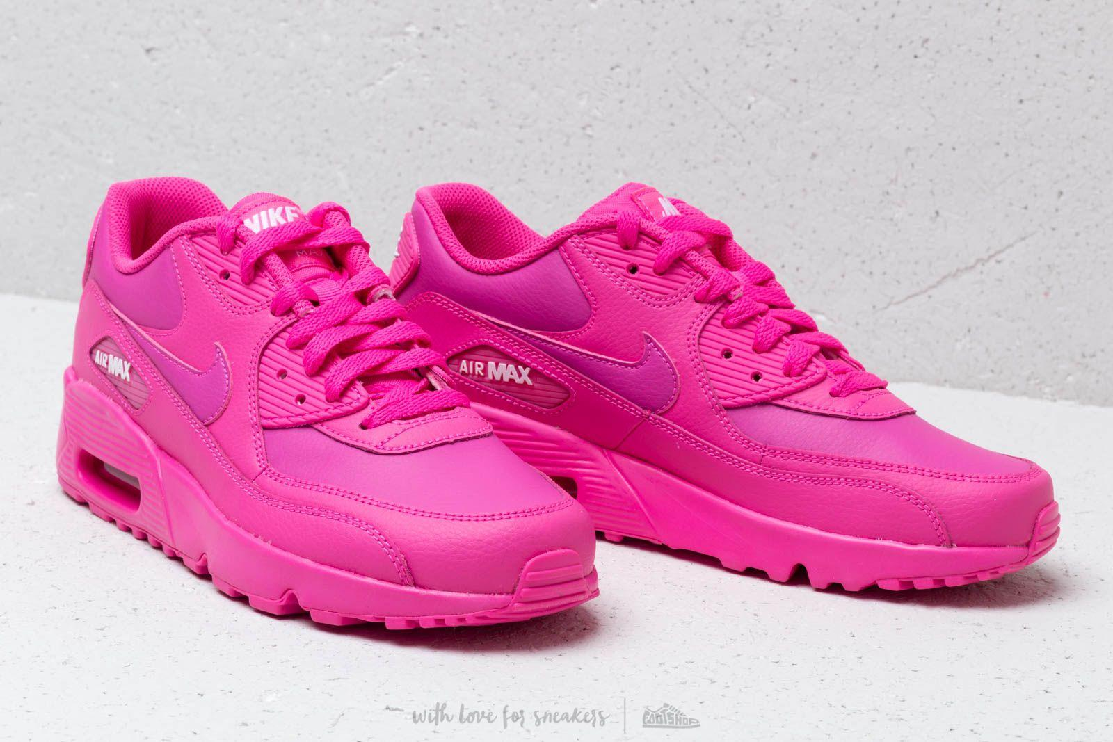 Nike Leather Air Max 90 Ltr (gs) Laser Fuchsia/ Laser Fuchsia ...