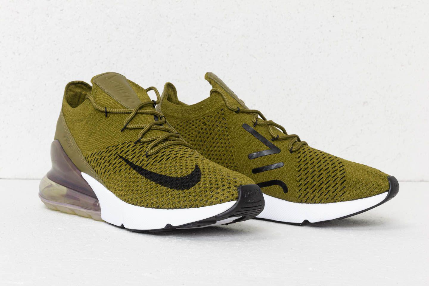 Nike Green Air Max 270 Flyknit Olive Flak Black sepia Stone for men