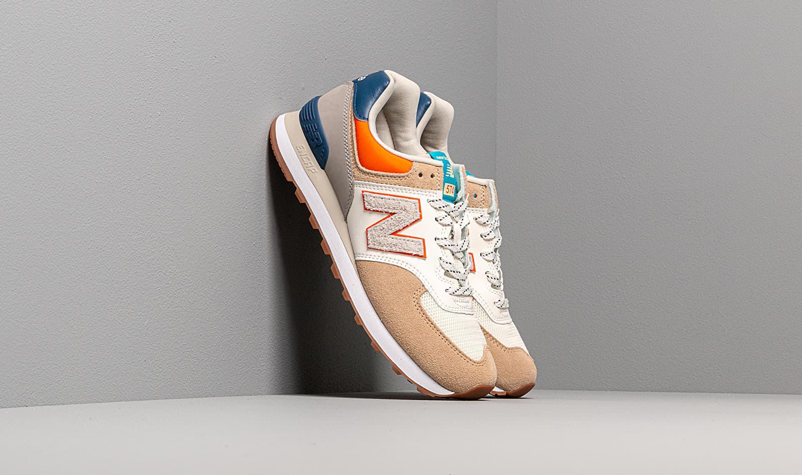 New Balance 574 Beige/ Blue/ Orange for Men - Lyst