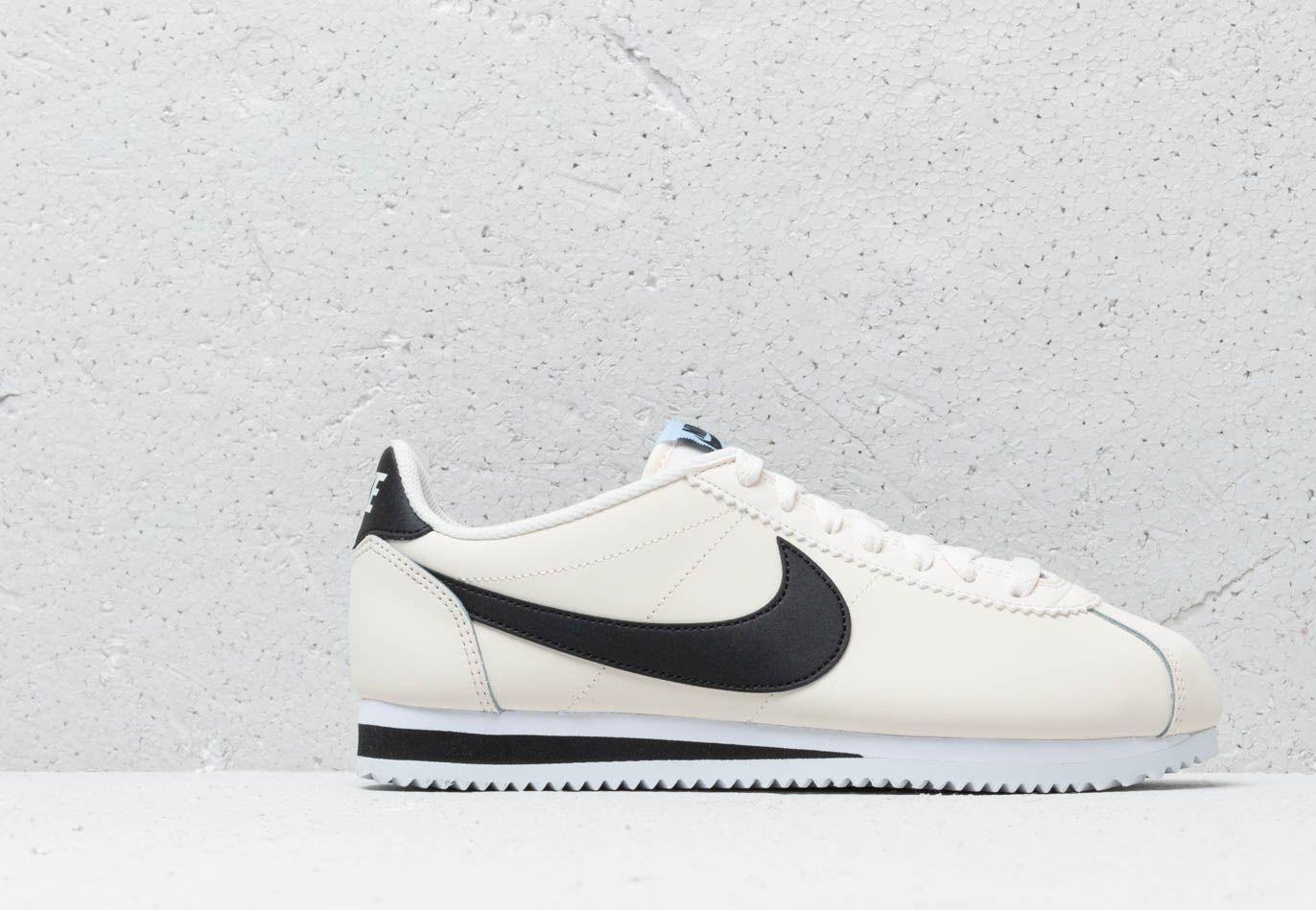 Wmns Ivory Cortez Aluminum White Leather Nike Classic Black DY9I2WEH