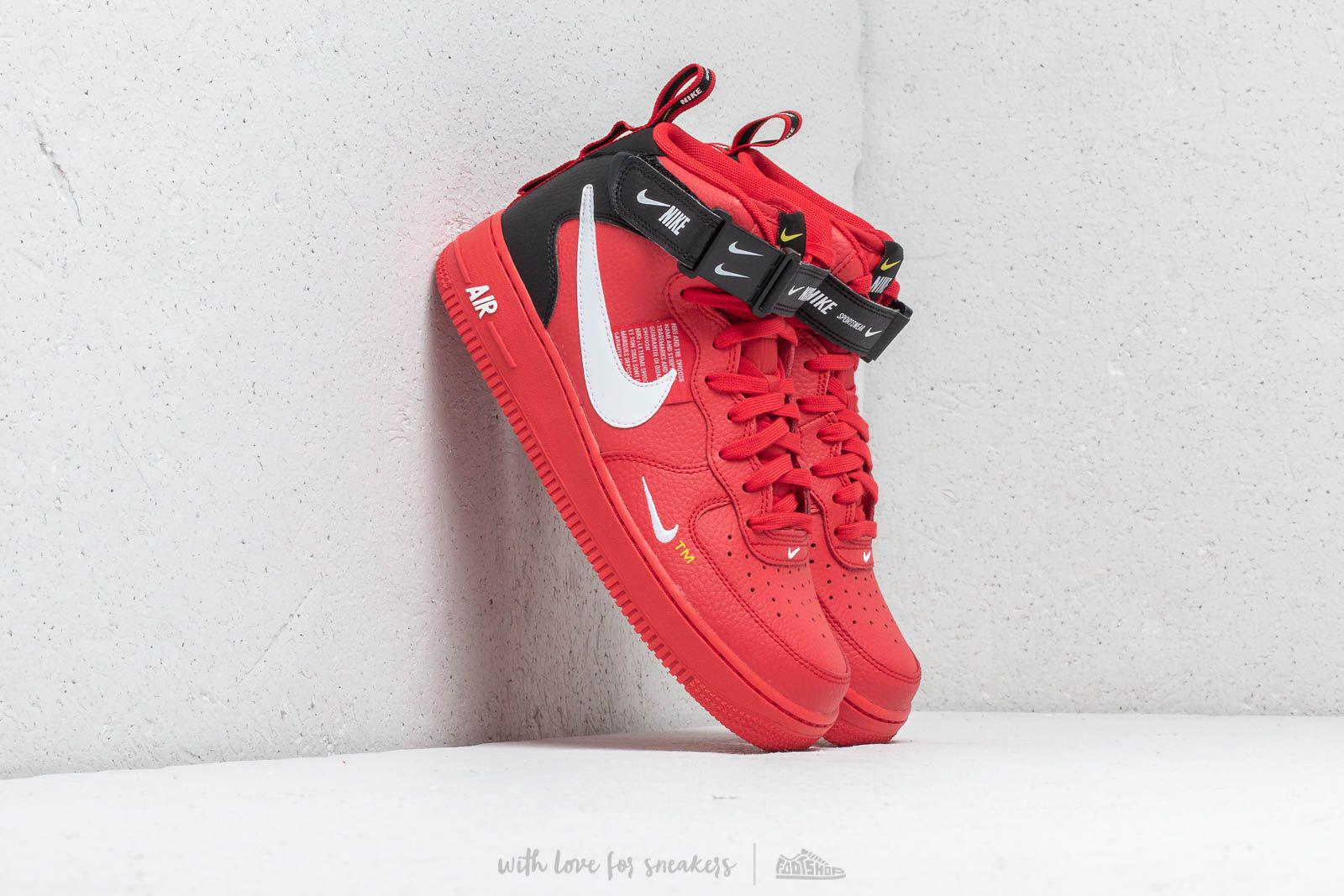 For Lv8 Men Nike Force 1 White Air '07 University Red Black Mid v80mwyNOnP