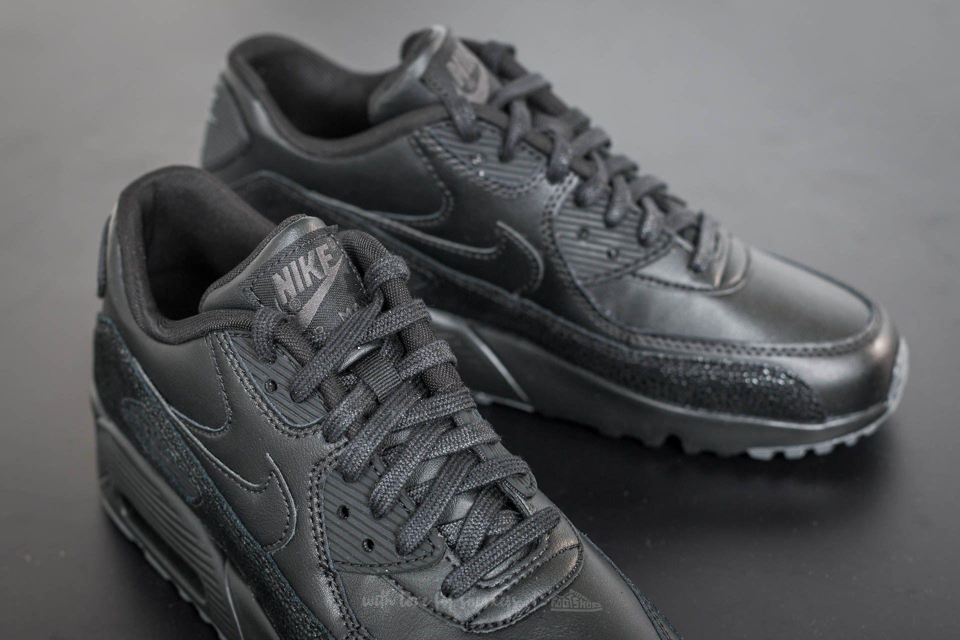 Nike Air Max 90 Se Leather (gs) Black/ Black-dark Grey - Lyst