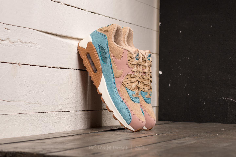 Nike Leather Wmns Air Max 90 Lx Mushroom/ Mushroom-smokey Blue - Lyst