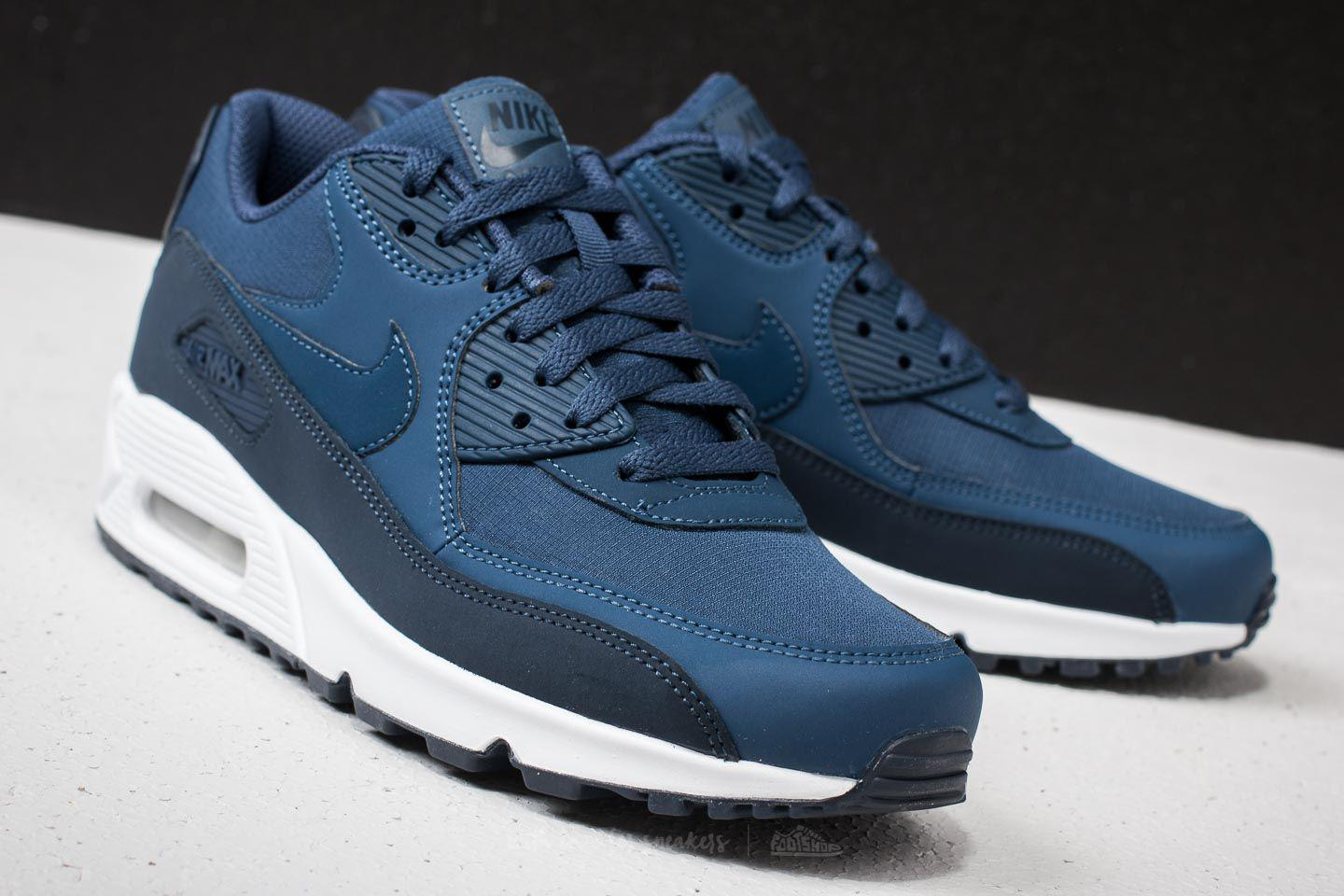 Nike Air Max 90 Essential Womens Trainers Midnight Navy White Pink For Sale