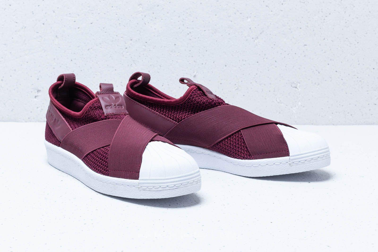 adidas slip on burgundy