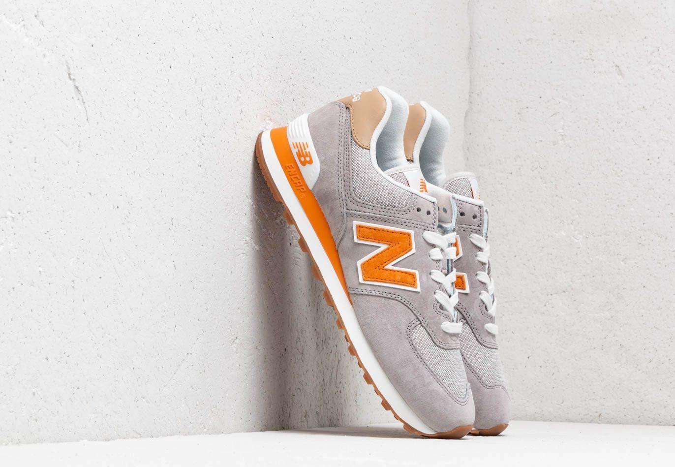 New Balance Suede 574 Grey/ Orange/ White for Men - Lyst