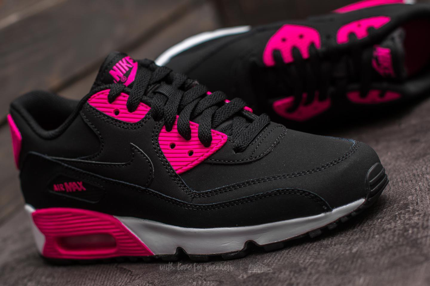 sale retailer ba35a 9150c Women's Air Max 90 Leather (gs) Black/ Pink Prime-white