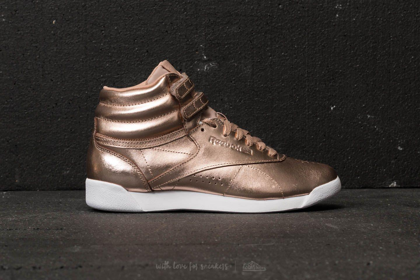 d510adb53f2884 Lyst - Reebok Freestyle Hi Metallic Trainers Rose Gold white silver ...