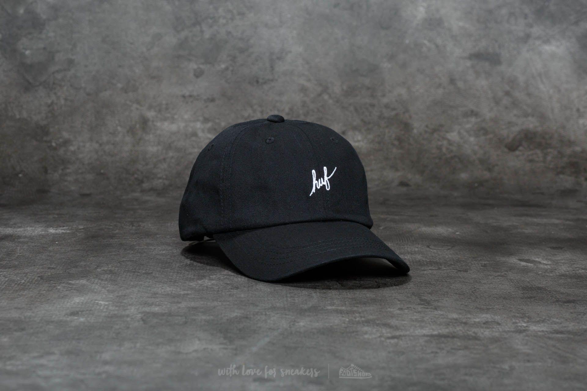 842c2db44d7 Lyst - Huf Script Logo Curve Brim Cap Black  White in Black for Men