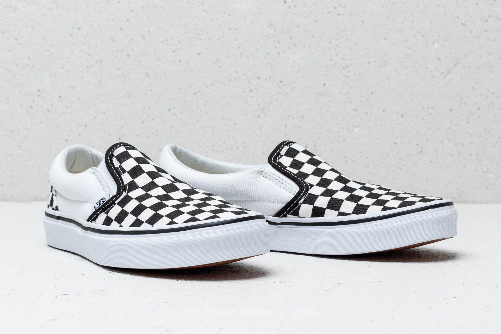 black true white checkered vans
