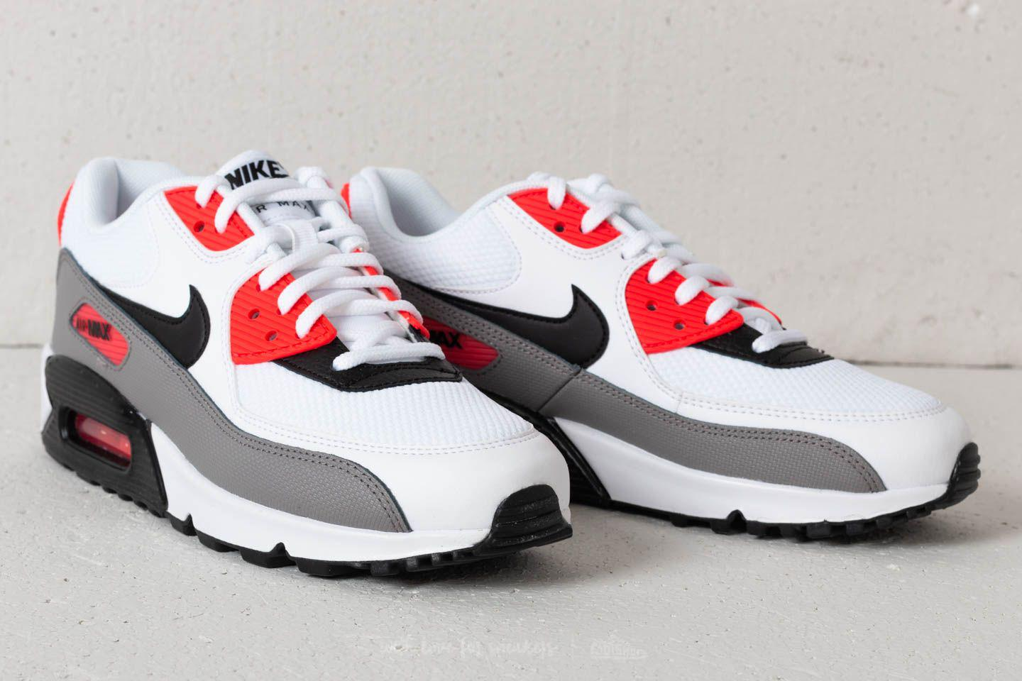Nike Leather Wmns Air Max 90 White Black Dust Solar Red Lyst