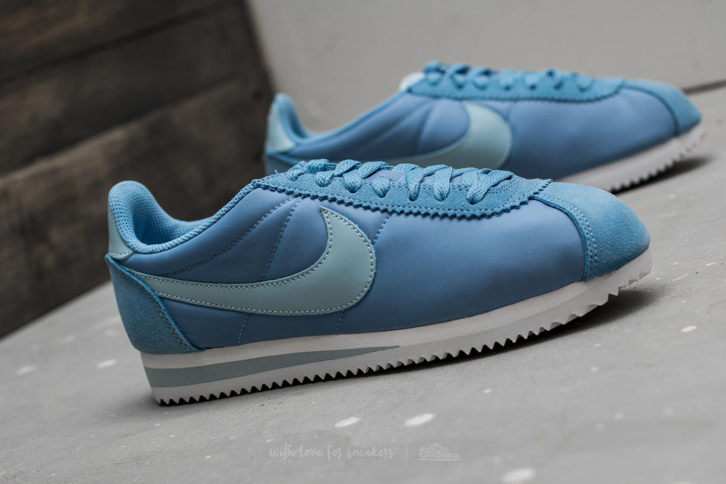 official new design on feet at Wmns Classic Cortez Nylon December Sky/ Light Armory Blue