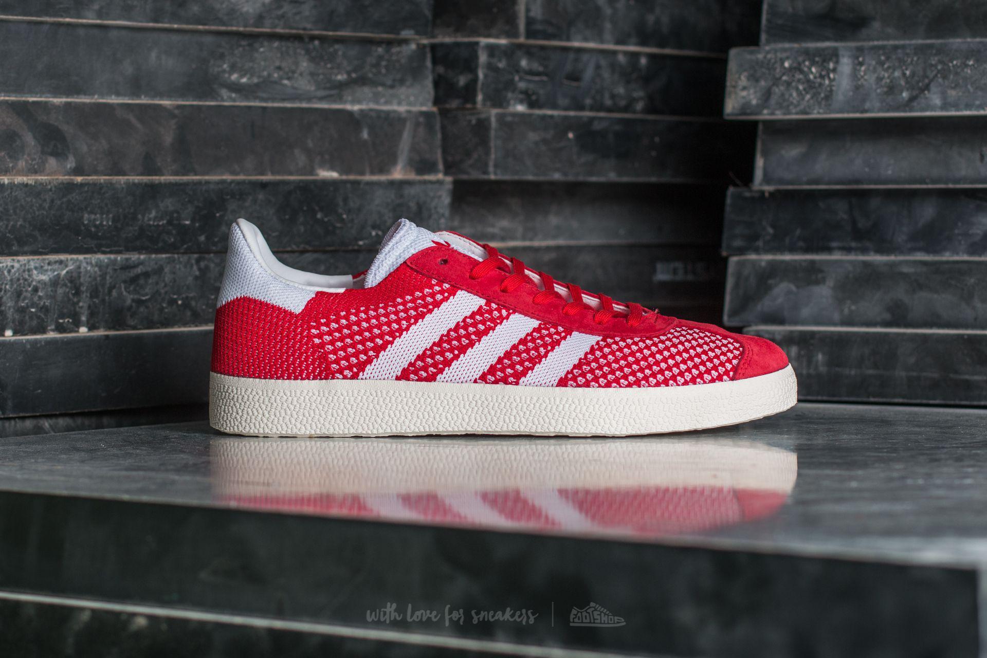 Men's Adidas Gazelle Primeknit Scarlet Ftw White Chalk White