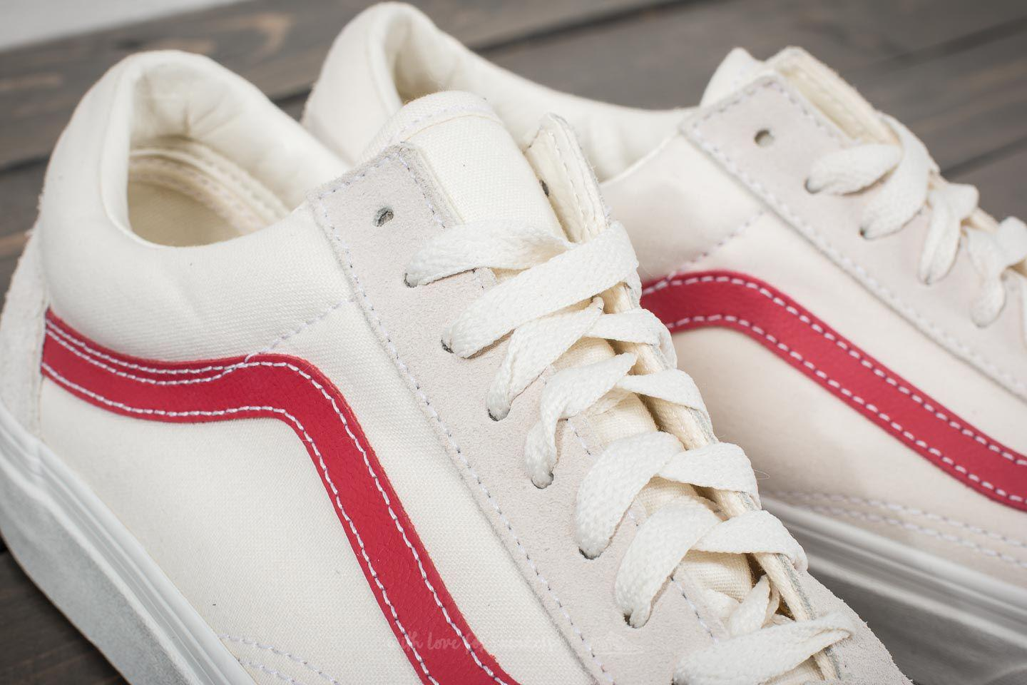 Vans UA OLD SKOOL - Trainers - vintage white/rococco red XWNBZq