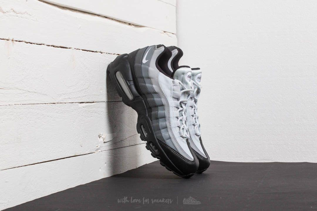 Nike Leather Air Max 95 Essential Black White Dark Grey In Gray