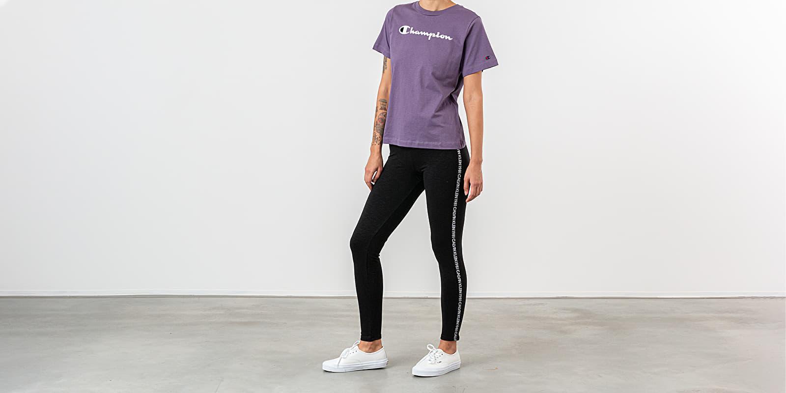 Script Logo Print Drop Shoulder Tee Purple Champion