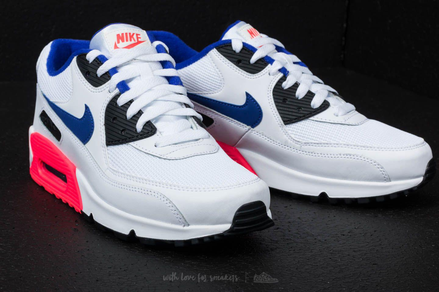 392a2cd3357c Nike Air Max 90 Essential White  Ultramarine  Solar Red for Men - Lyst