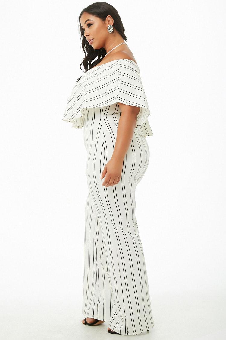 8461be8e5117 Forever 21 - White Women s Plus Size Striped Flounce Jumpsuit - Lyst. View  fullscreen