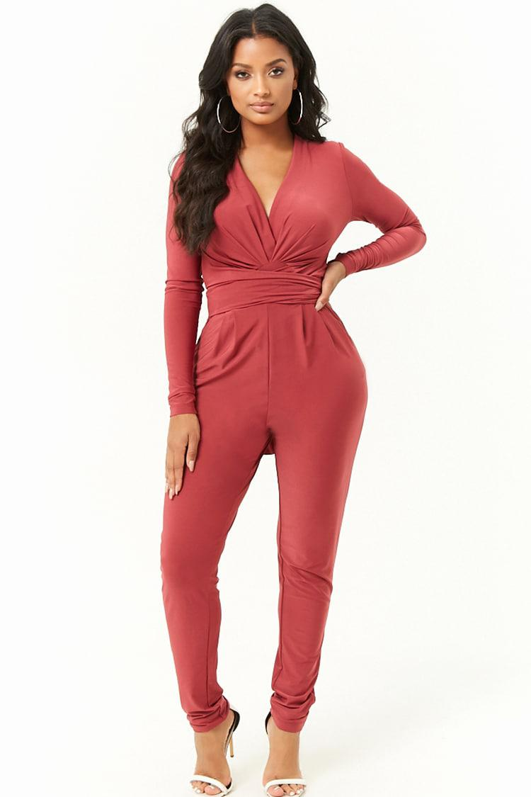6fb1b6c121 Lyst - Forever 21 Pleated Wrap Jumpsuit in Red