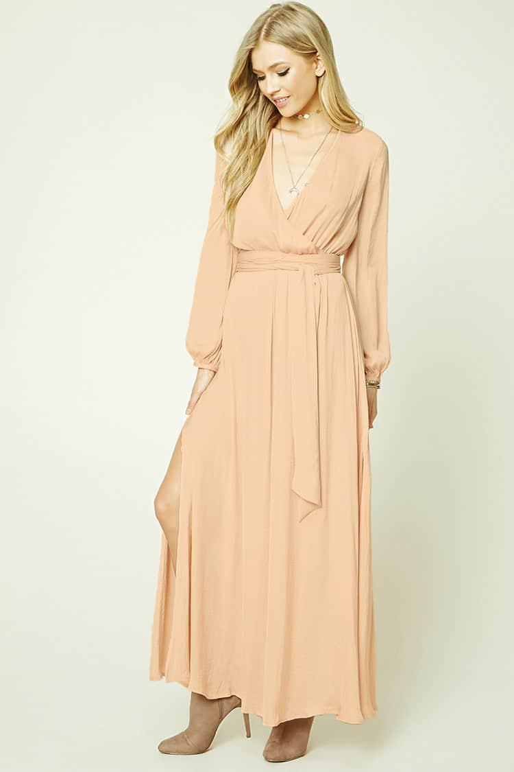 2c111f3daca Forever 21 Belted Surplice Maxi Dress in Natural - Lyst