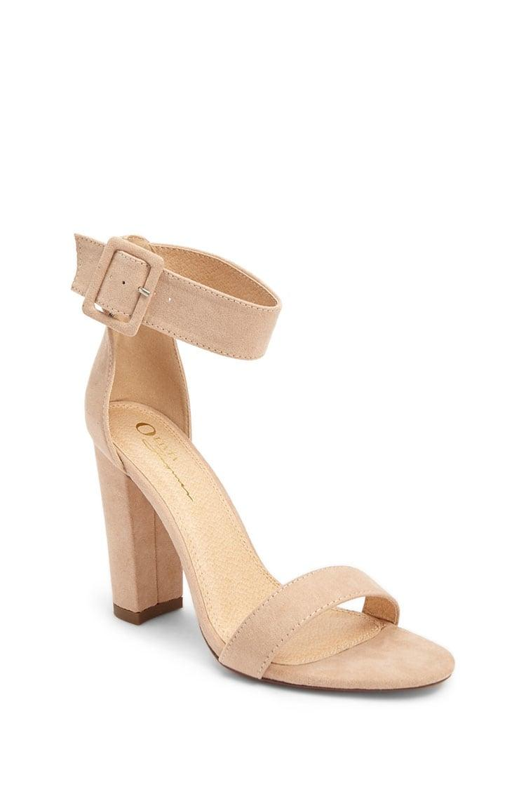 ded34582149 Lyst - Forever 21 Faux Suede Ankle-wrap Heels in Natural