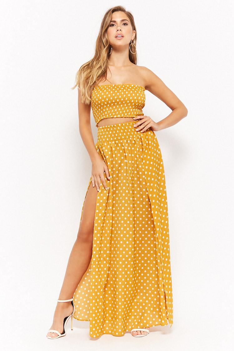 f4fafe97f3 Lyst - Forever 21 Polka Dot Tube Top   Maxi Skirt Set in Yellow
