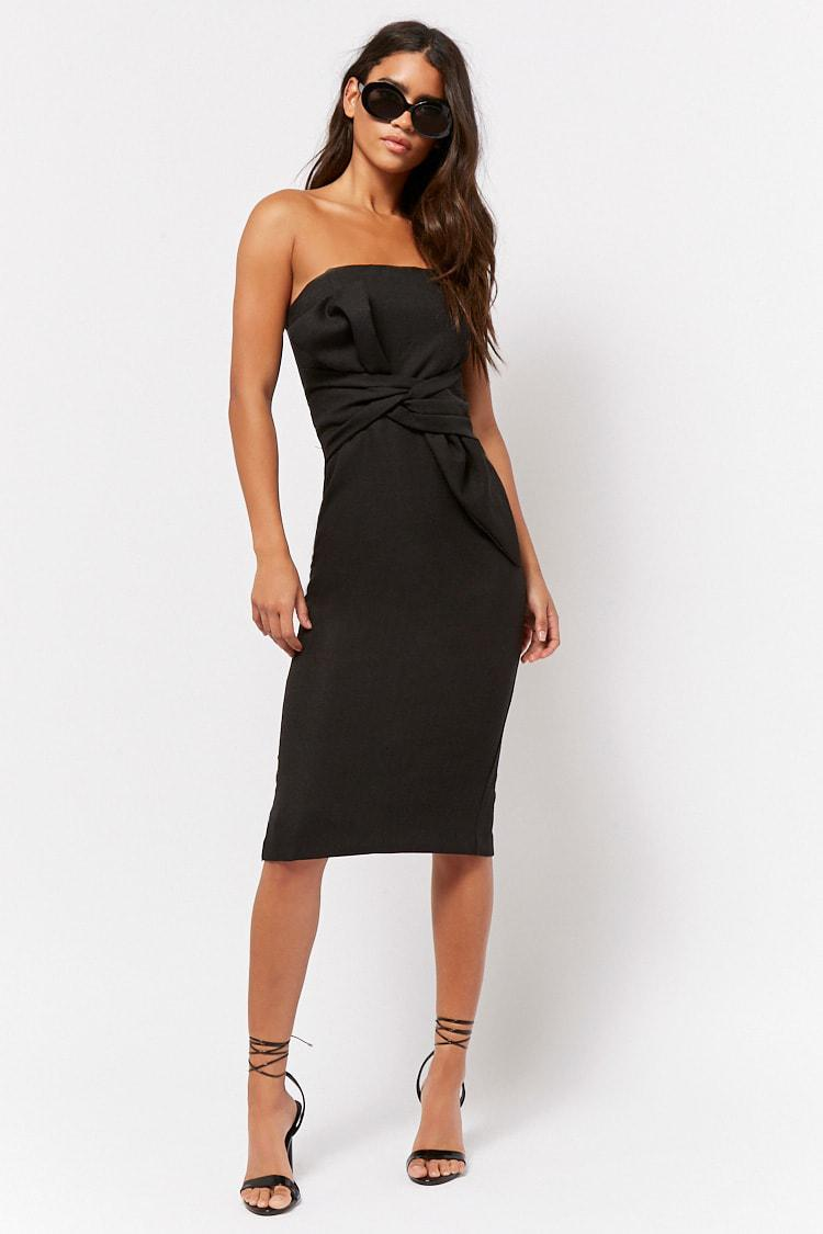 24bc103718a3 Forever 21. Black Women's Strapless Bow Sheath Dress. $65 $33 From Forever21