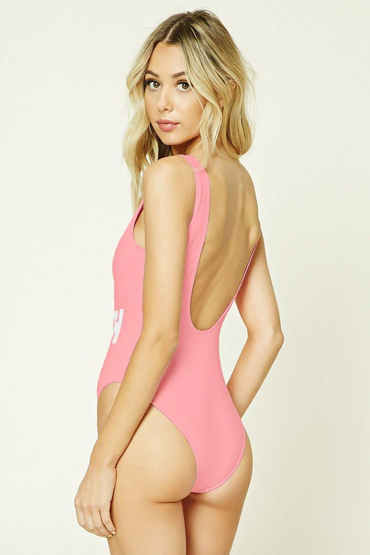 cc37dd4df Forever 21 Bae Watch Graphic One-piece in Pink - Lyst