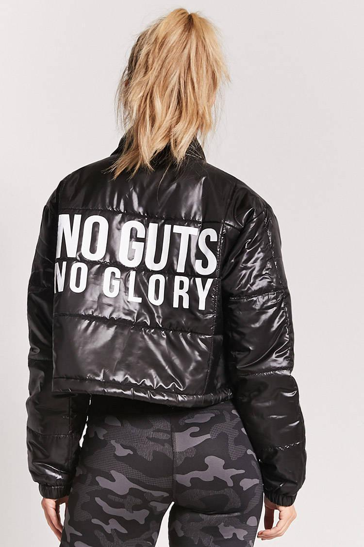 d60c7779f Forever 21 Black Active No Guts No Glory Puffer Jacket