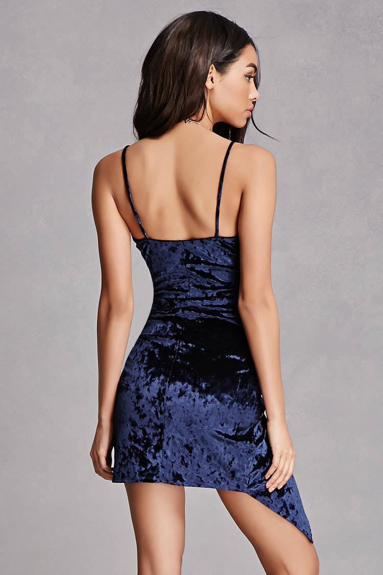 Lyst Forever 21 Crushed Velvet Bodycon Dress In Blue