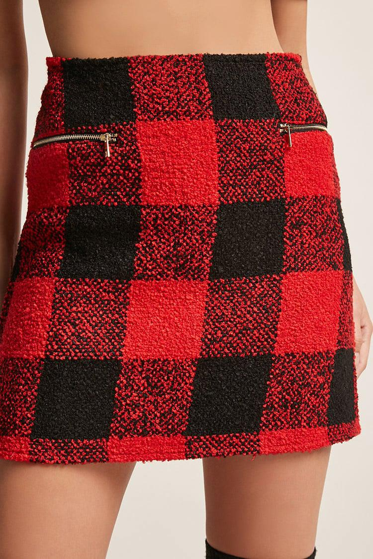 7d370250dc Lyst - Forever 21 Boucle Knit Plaid Mini Skirt in Red