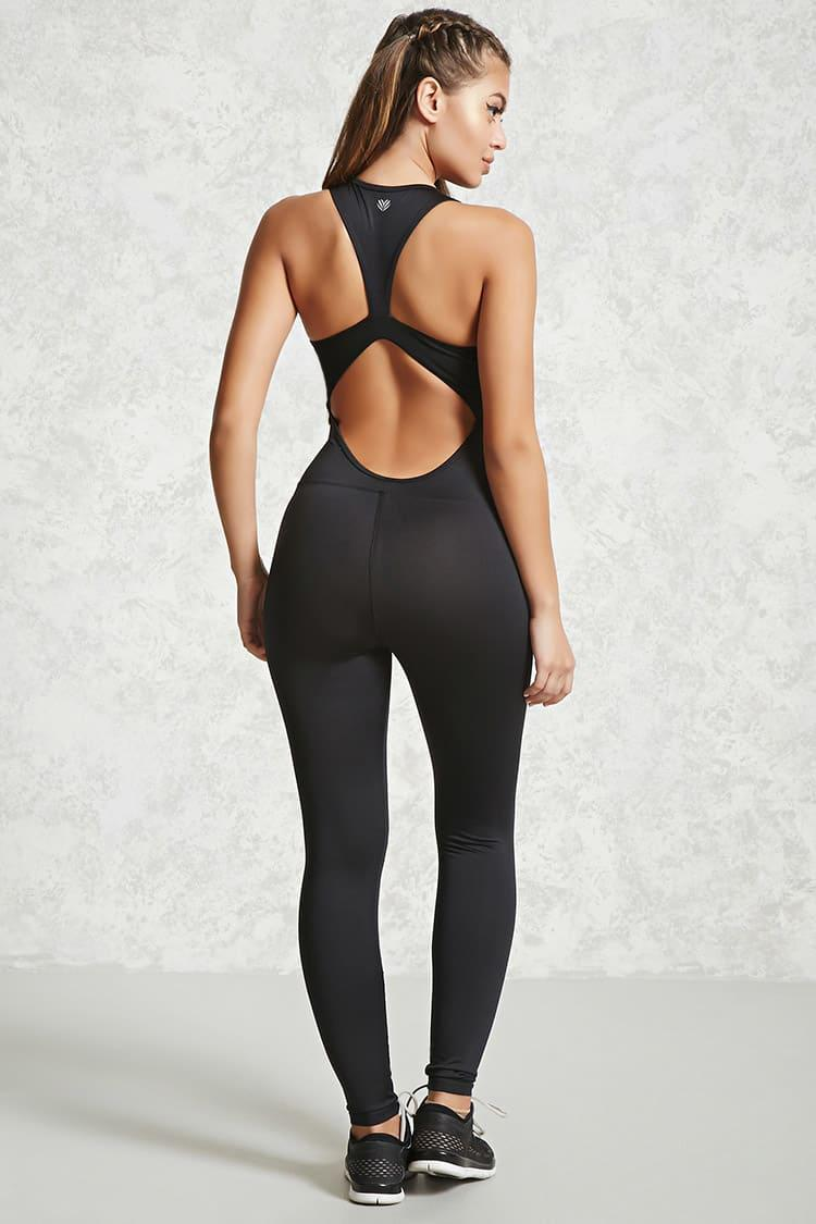 9986e0a4add Lyst - Forever 21 Active Cutout Jumpsuit in Black
