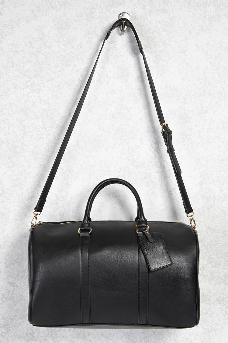 forever 21 handbags forever 21 faux leather duffle bag in black lyst 30621