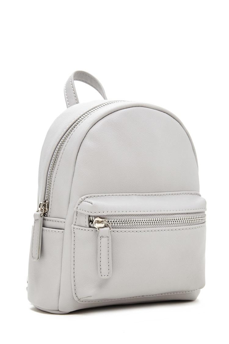 277278aaad2f Lyst - Forever 21 Faux Leather Mini Backpack in Gray