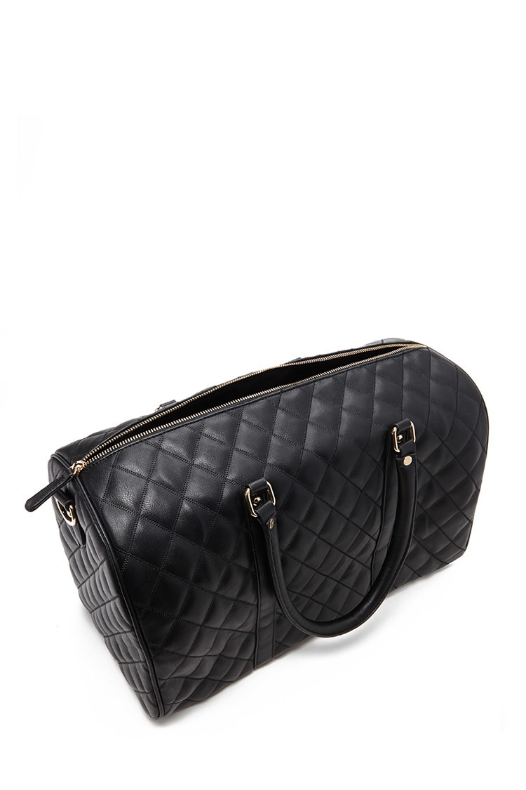 Forever 21 Quilted Faux Leather Travel Bag In Black Lyst