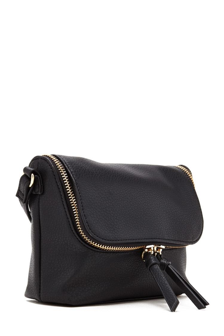 Lyst - Forever 21 Faux Leather Crossbody Bag In Black